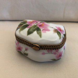 Limoges Pink Floral Trinket Box